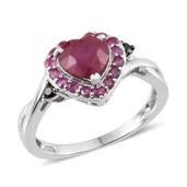 Niassa Ruby, Thai Black Spinel, Ruby Platinum Over Sterling Silver Heart Ring (Size 6.0) TGW 3.101 cts.