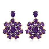 Lusaka Amethyst 14K YG and Platinum Over Sterling Silver Earrings TGW 9.670 cts.