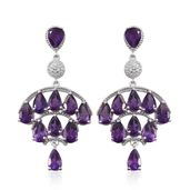 Lusaka Amethyst, White Topaz Platinum Over Sterling Silver Chandelier Earrings TGW 17.03 cts.