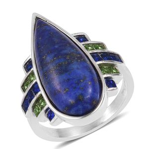 Lapis Lazuli, Austrian Crystal Stainless Steel Ring (Size 8.0) TGW 20.00 cts.