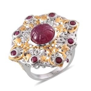 Royal Jaipur Ruby, Niassa Ruby 14K YG and Platinum Over Sterling Silver Openwork Statement Ring (Size 6.0) TGW 8.930 cts.
