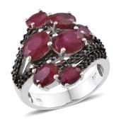 Niassa Ruby, Thai Black Spinel Platinum Over Sterling Silver Ring (Size 9.0) TGW 8.160 cts.