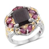 Royal Jaipur Natural Silver Sapphire, Orissa Rhodolite Garnet, Ruby 14K YG and Platinum Over Sterling Silver Ring (Size 7.0) TGW 8.980 cts.