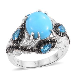 Arizona Sleeping Beauty Turquoise, Malgache Neon Apatite, Thai Black Spinel Platinum Over Sterling Silver Openwork Ring (Size 7.0) TGW 5.75 cts.