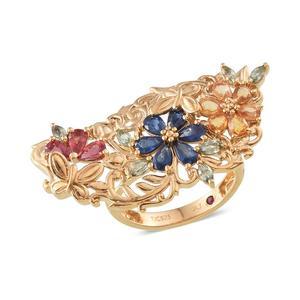 Royal Jaipur Multi Gemstone 14K YG Over Sterling Silver Ring (Size 7.0) TGW 4.44 cts.
