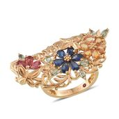 Royal Jaipur Multi Gemstone 14K YG Over Sterling Silver Ring (Size 8.0) TGW 4.44 cts.