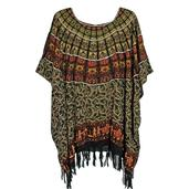 Bali Legacy Black and Green 100% Rayon Poncho With Sequins