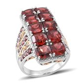 Mozambique Garnet 14K YG Over and Sterling Silver Ring (Size 7.0) TGW 13.500 cts.