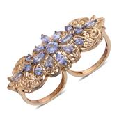 Royal Jaipur Tanzanite, Ruby 14K YG Over Sterling Silver Openwork Double Finger Ring (Size 7.0) TGW 3.630 cts.