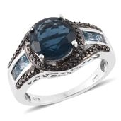 Belgian Teal Fluorite, Electric Blue Topaz, Black Diamond Platinum Over Sterling Silver Graceful Swirl Ring (Size 7.0) TGW 5.25 cts.