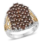 Jenipapo Andalusite, White Zircon 14K YG and Platinum Over Sterling Silver Ring (Size 7.0) TGW 5.250 cts.
