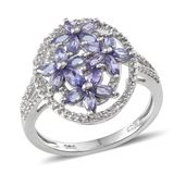 Tanzanite, White Topaz Platinum Over Sterling Silver Openwork Ring (Size 9.0) TGW 2.50 cts.