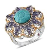Royal Jaipur Sonoran Blue Turquoise, Catalina Iolite, Ruby 14K YG Over and Sterling Silver Ring (Size 10.0) TGW 5.78 cts.