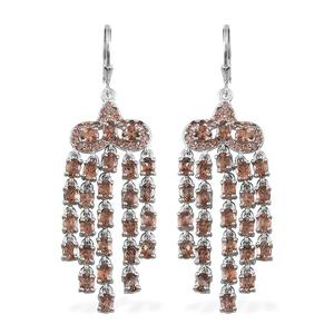 Jenipapo Andalusite Platinum Over Sterling Silver Chandelier Lever Back Earrings TGW 10.12 Cts.