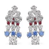 J Francis - Platinum Over Sterling Silver Chandelier Earrings Made with Multi Color SWAROVSKI ZIRCONIA TGW 12.800 cts.