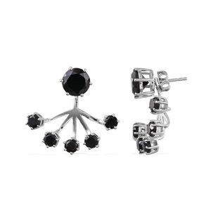 Thai Black Spinel Sterling Silver Ear Jacket Earrings TGW 6.29 cts.