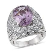 Rose De France Amethyst, White Topaz Platinum Over Sterling Silver Ring (Size 8.0) TGW 9.080 cts.