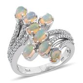 Ethiopian Welo Opal, White Topaz Platinum Over Sterling Silver Ring (Size 6.0) TGW 2.000 cts.