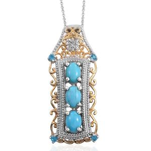 Arizona Sleeping Beauty Turquoise, Malgache Neon Apatite 14K YG and Platinum Over Sterling Silver Pendant With Chain (20 in) TGW 2.26 cts.