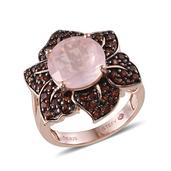 Stefy Galilea Rose Quartz, Pink Sapphire, Mozambique Garnet 14K RG Over Sterling Silver Ring  (Size 6.0) TGW 7.760 cts.