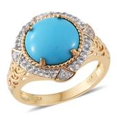 Arizona Sleeping Beauty Turquoise, White Topaz 14K YG Over Sterling Silver Ring (Size 10.0) TGW 4.96 cts.