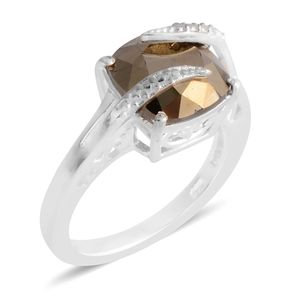Swarovski Crystal Metallic Light Gold Sterling Silver Ring (Size 6.5) TGW 4.00 cts.