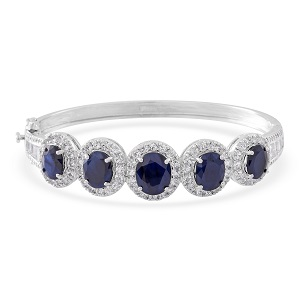 Kanchanaburi Blue Sapphire, White Topaz Sterling Silver Bangle TGW 20.78 cts.
