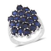 Kanchanaburi Blue Sapphire Sterling Silver Glitzy Ring (Size 6.0) TGW 8.50 cts.