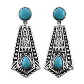 Tribal Collection of India Arizona Sleeping Beauty Turquoise Sterling Silver Earrings TGW 3.700 cts.