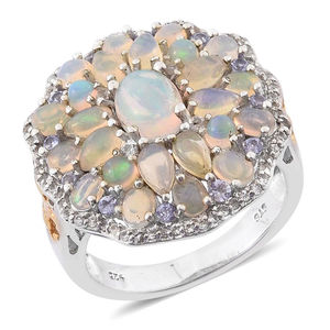 Ethiopian Welo Opal, White Topaz, Tanzanite 14K YG and Platinum Over Sterling Silver Flower Ring (Size 7.0) TGW 4.890 cts.
