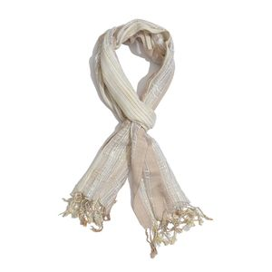 Brown and Cream 100% Viscose Scarf with Fringe (71x20 in)