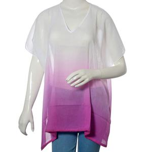 White and Plum 100% Cotton Ombre Tunic