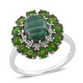 African Malachite, Russian Diopside Platinum Over Sterling Silver Flower Ring (Size 10.0) TGW 6.350 cts.