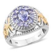 Tanzanite 14K YG and Platinum Over Sterling Silver Openwork Ring (Size 7.0) TGW 1.950 cts.