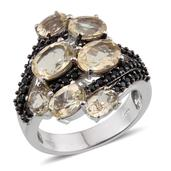 Marialite, Thai Black Spinel Platinum Over Sterling Silver Ring (Size 7.0) TGW 6.170 cts.