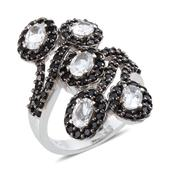 Espirito Santo Aquamarine, Thai Black Spinel Platinum Over Sterling Silver Ring (Size 7.0) TGW 4.900 cts.
