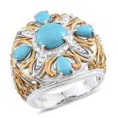 Tribal Collection of India Arizona Sleeping Beauty Turquoise 14K YG and Platinum Over Sterling Silver Openwork Ring (Size 6.0) TGW 3.50 cts.