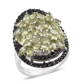 Hebei Peridot, Thai Black Spinel Platinum Over Sterling Silver Ring (Size 6.0) TGW 6.570 cts.