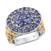 Tanzanite 14K YG and Platinum Over Sterling Silver Openwork Cluster Ring (Size 6.0) TGW 4.00 cts.