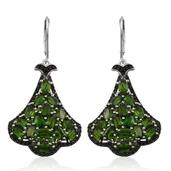 Russian Diopside, Thai Black Spinel Platinum Over Sterling Silver Lever Back Earrings TGW 10.300 cts.