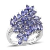 Tanzanite, White Zircon Platinum Over Sterling Silver Ring (Size 5.0) TGW 3.800 cts.