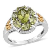 Hebei Peridot 14K YG and Platinum Over Sterling Silver Swirl Filigree Ring (Size 8.0) TGW 2.660 cts.