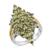Hebei Peridot 14K YG and Platinum Over Sterling Silver Ring (Size 7.0) TGW 6.195 cts.