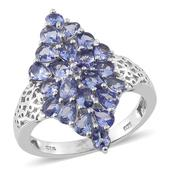 Tanzanite Platinum Over Sterling Silver Ring (Size 7.0) TGW 4.00 cts.