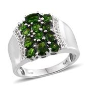Russian Diopside, White Topaz Platinum Over Sterling Silver Ring (Size 8.0) TGW 3.120 cts.