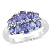Premium AAA Tanzanite Platinum Over Sterling Silver Ring (Size 10.0) TGW 2.44 cts.