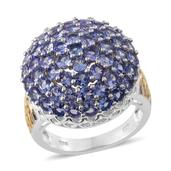 Tanzanite 14K YG and Platinum Over Sterling Silver Cluster Ring (Size 9.0) TGW 5.300 cts.