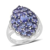 Tanzanite Platinum Over Sterling Silver Ring (Size 6.0) TGW 4.850 cts.