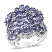 Tanzanite Platinum Over Sterling Silver Floral Cluster Ring (Size 8.0) TGW 6.530 cts.