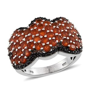 Jalisco Fire Opal, Thai Black Spinel Platinum Over Sterling Silver Ring (Size 7.0) TGW 3.050 cts.